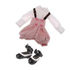 Trendy Doll Shirt Suspender Pants Shoes Outfit for 12'' Blythe Doll Dress Up