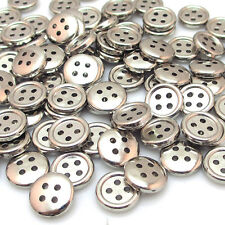 New 100pcs Silver Plastic Buttons 12mm Sewing Craft 4 Holes T0781