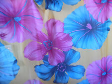 Gold Purple Mauve Turquoise Floral Large Petal Chiffon Sheer Fabric By The Yard