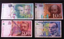 Souvenir : Lot 50 Fr St Exupéry / 100 Fr Cezanne / 200 Fr Eiffel / 500 Fr Curie