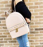 Michael Kors Kenly Medium Studded Backpack Powder Blush Pink Pebbled Leather