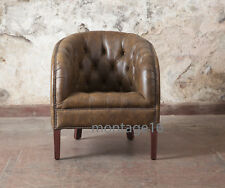 Calder Vintage Leather Button Back Seat Tub Club Armchair Chair Office RRP £1049