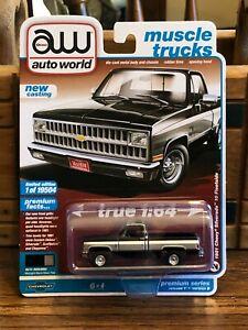 Auto World 1981 Chevrolet Silverado Pickup Truck Black with Silver 1/64