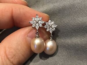 0.5 Carat Diamond Brilliant Cut Solitaire & Pearl Earrings In Platinum Finish