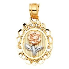 "Satin 14k Tri Tone Solid Gold Oval 3/4"" Rose Flower Floral Small Charm Pendant"