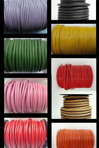100% FULL Real Round Leather Cord 6mm String Lace Thong Jewellery - HQ