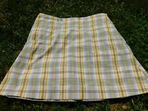 Annika by Cutter & Buck sz 0 Plaid Golf Skort Skirt Yellow Gray Stretch Pockets