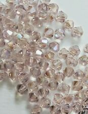 100 PCS 4mm Faceted Light Pink Rose AB Aurora Bicone Crystal Glass Beads