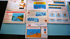 """1970's RUSSIAN USSR PROPAGANDA POSTER """"THE SAFETY RULES ON THE WATER"""" LOT of 7"""