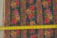 By 1/2 Yd, Bright Floral Stripes on Dk-Green Quilt Cotton, Robert Kaufman, D804