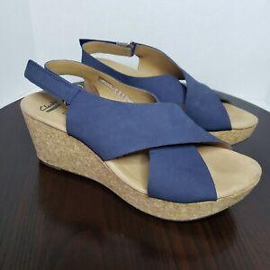 Clarks Annadel Eirwyn Blue Nubuck Leather Slingback Cork Wedge Sandals Size 12 W