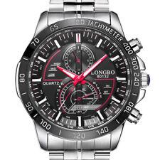 LONGBO 80132 Luminous Men Watch Fashion Date Display Stainless Steel Quartz