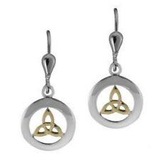 Irische Ohrringe Trinity Knot Gold und Silber