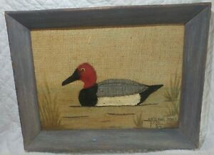 Org Vintage 70s Framed Burlap Duck- Folk Art- Polly Munden- Knotts Island NC- 2