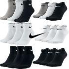 Nike 3 Pairs Mens Womens Ankle Quarter Low Sports Gym Socks Cotton Black White