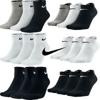 Nike 3 Pairs Mens Womens Ankle Quarter Low Sports Gym Socks Cotton Black White