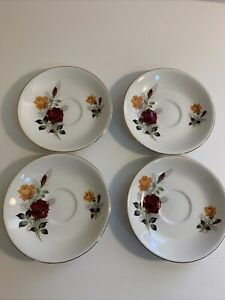 Vintage x 4 Glo-White Alfred Meakin Ironstone England Saucers Red & Yellow Roses