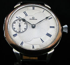 OMEGA Antique 1911 Deco Large Silver Wristwatch Metal Dial