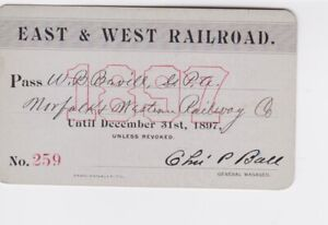 1897 East & West Railroad Annual Pass