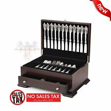 Silver Flatware Storage Set Box Chest Silverware Drawer Case Wood Vintage