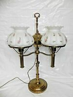 Vintage Pink Roses Glass Lamp Shade Brass 2 Double Student Desk Hurricane Light