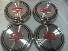 Set Of 4 1967 1968 Mustang Torino GT Polished Stainless Steel Hubcap Center Cap