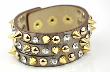 PU leather spike bracelets crystal gold stud metal 3 size button fastening Cuff