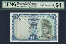 Malaysia 50 Ringgit 1976-81 Sign. I M Ali Pick-16 Ch UNC PMG 64 Rare