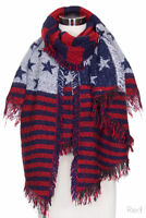 ScarvesMe Women's Fashion USA Flag Knit Oblong Scarf