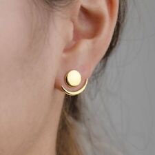1 Pair Gold Crescent Moon Stud Earrings Double Side Geometric Ear Jacket Jewelry