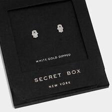 Hand Earrings Tiny Secret Gift Box WHITE GOLD DIPPED Evil Eye Post Stud Hamsa