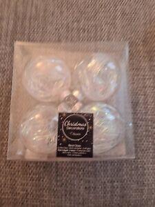 Real Glass Transparent  Baubles 7cm  Set Of 4