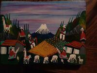 WOW! Francisco Cuyo Vega Indigenous Village LifeScene Folk Art Painting Ecuador