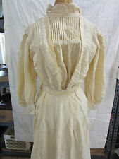 Antique Edwardian Ladies Cream Colored Blouse & Skirt Set
