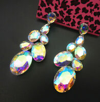 Women's AB Crystal Rhinestone Oval Betsey Johnson Stud Drop Earrings
