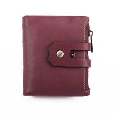 RFID Blocking Cow Leather Bifold Short Card Wallets Zipper Purse Banknote Pocket