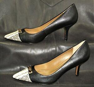 Coach New York Zan women's black leather w/beige snake trim pump shoes size 7B
