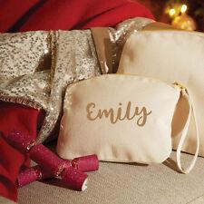 Personalised wristlet make up bag, cosmetic bag, natural organic cotton canvas