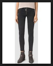 AllSaints TRACK Ankle Skinny Front Exposed Zipper Jeans in Black Wash Size  W24 519baccb9
