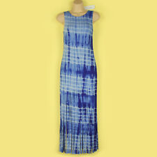 NEW BLUE & WHITE TIE DYE FRINGED FULL LENGTH JERSEY STRETCH DRESS SIZE SMALL