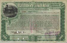 Baltimore and Ohio Railroad Company Preferred Stock Trust 100 Shares 1899