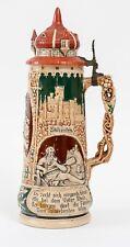 """Antique Matthias Girmscheid 2.0L German Beer Stein #908 """"Woman Drinkingl"""" c.1900"""