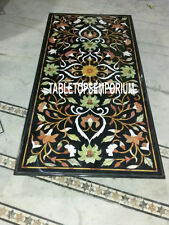 4'x2' Black Marble Dining Corner Table Top Marquetry Inlay Art Decor Floral Work