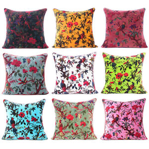 Colorful Velvet Floral Flower Bird Throw Sofa Cushion Couch Pillow Cover Case Bo
