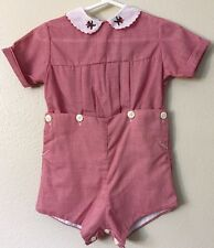 Monday's Child Vintage Romper Girl's Red White Collar Bobby Suit Measurements