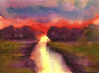 ACEO sunset abstract rive landscape original watercolor painting art card signed