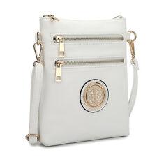 New Dasein Women Leather Crossbody Bag Messenger Bag Handbag Day Bag Purse White