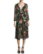 NWT Alice + Olivia Abney V-Neck Floral-Print Wrap Shirt dress Size 4