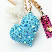 Betsey Johnson Enamel Crystal 3D Love Heart Pendant Sweater Chain Necklace Gift