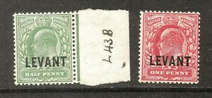British Levant - 1905 Definitive Issue  ½d. & 1d. Currency values - Mounted Mint
